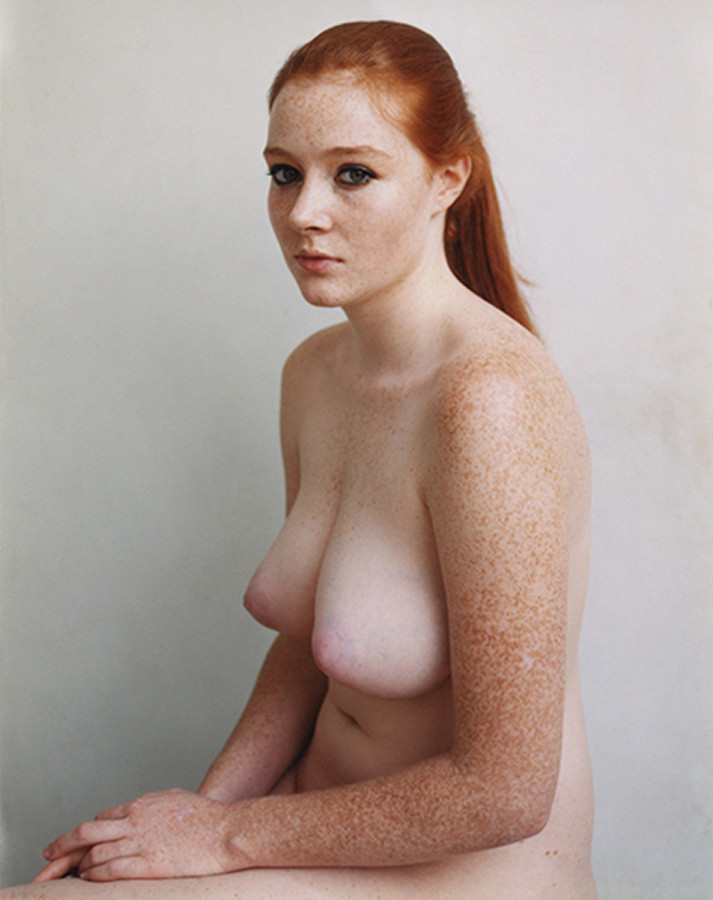 Naked Freckled Ginger Babe Showing Her Tits