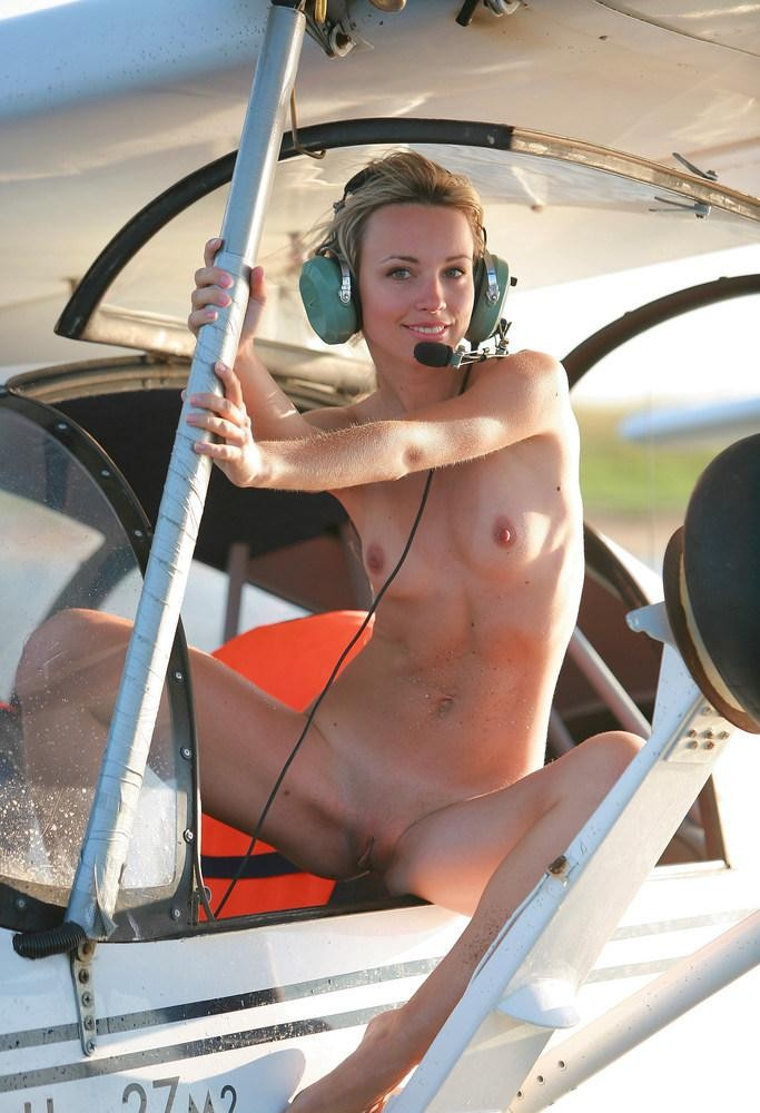 Blond pilot chick posing naked