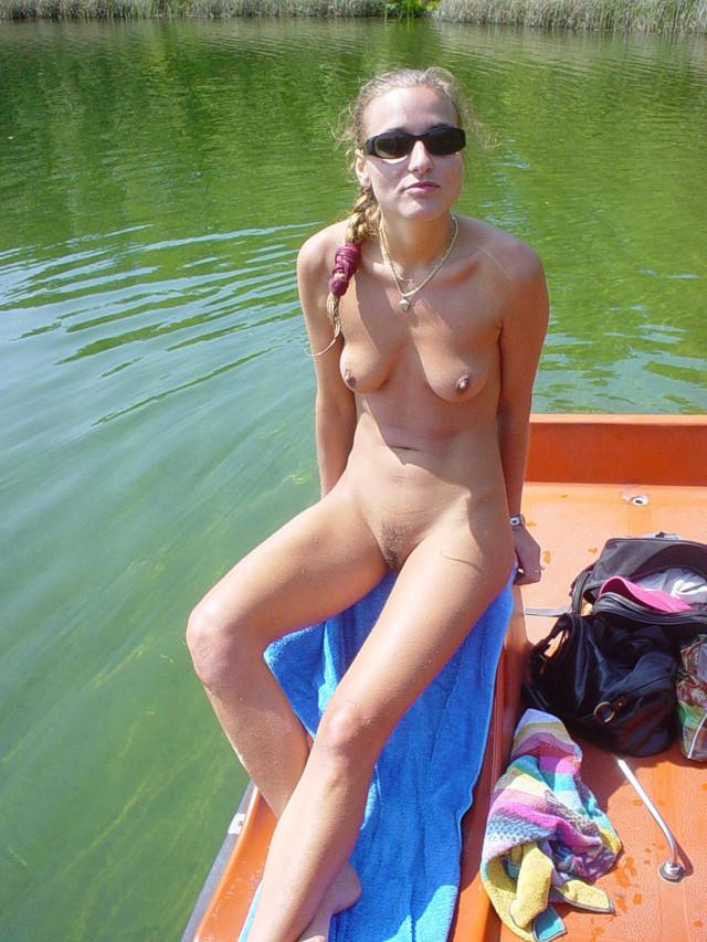 Blonds naked sunbathing on the lake