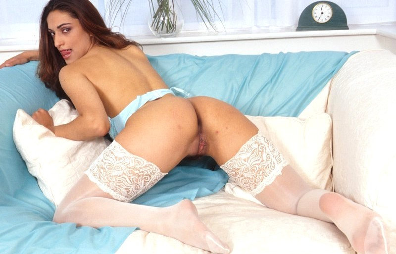 Slut in white stockings is horny and fuckable